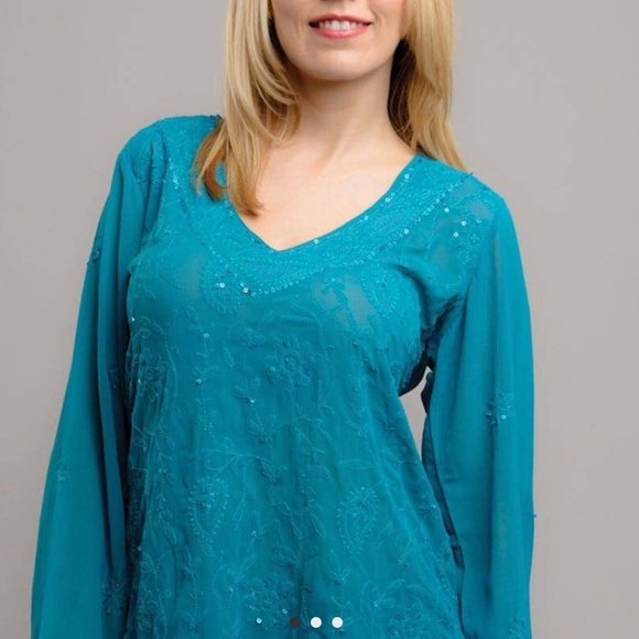 Sevya Handmade Tops - Handmade Sequined Embroidered Indian Blouse
